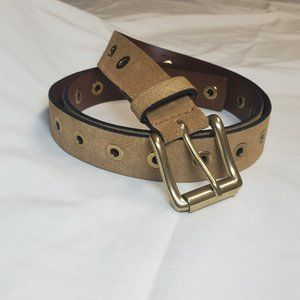 Italy Genuine Leather Tan Belt Gold Brass Buckle